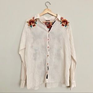 Johnny Was Button Down Floral Embroidered Top XL